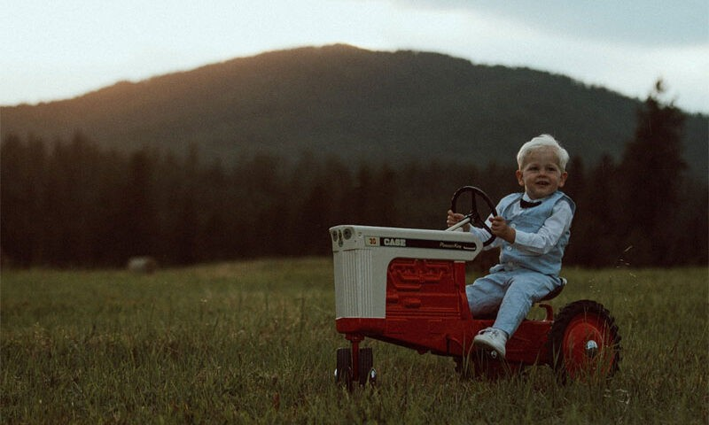 A child on a tractor